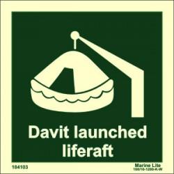 DAVIT LAUNCH LIFERAFT  (15x15cm) Phot.Vin. IMO sign 104103 / LSS004
