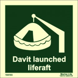 DAVIT LAUNCH LIFERAFT  (15x15cm) Phot.Vin. IMO sign 104103