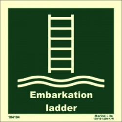 EMBARKATION LADDER  (15x15cm) Phot.Vin. IMO sign 104104 / LSS018