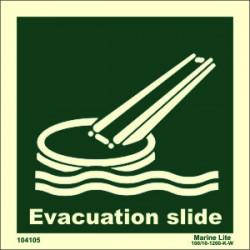 EVACUATION SLIDE  (15x15cm) Phot.Vin. IMO sign 104105 / LSS019