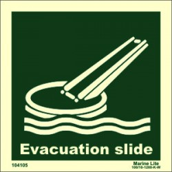 EVACUATION SLIDE  (15x15cm) Phot.Vin. IMO sign 104105