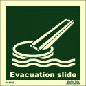 EVACUATION SLIDE  (15x15cm) Phot.Vin. IMO sign 104105 / LSS019