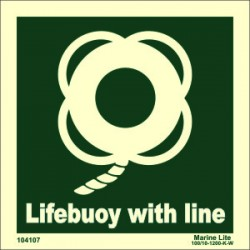 LIFEBUOY WITH LINE  (15x15cm) Phot.Vin. IMO sign 104107 / LSS006