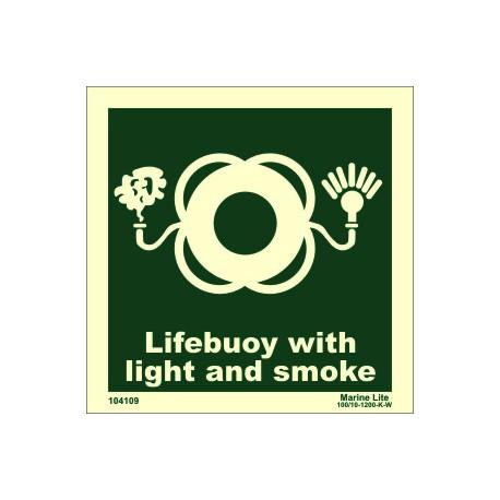 LIFEBUOY WITH L & SMOKE  (15x15cm) Phot.Vin. IMO sign 104109 / LSS008.1