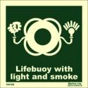 Señal IMO ARO SALVAVIDAS CON LUZ Y HUMO (15x15cm) vinilo fotoluminiscente 104109 / LSS008.1