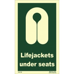 LIFEJACKETS UNDER SEATS  (15x25cm) Phot.Vin. IMO sign 104130