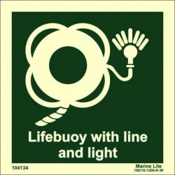 Señal IMO ARO SALVAVIDAS CON RABIZA Y LUZ (15x15cm) vinilo fotoluminiscente 104134 / LSS008