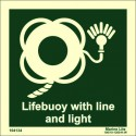 LIFEBUOY WITH LINE & LIGHT  (15x15cm) Phot.Vin. IMO sign 104134 / LSS008