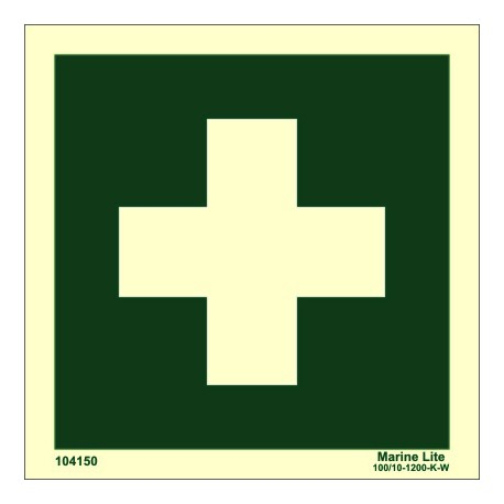 FIRST AID  (15x15cm) Phot.Vin. IMO sign 104150 / EES001