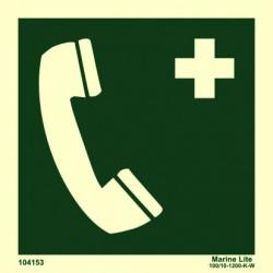 Señal IMO TELÉFONO DE EMERGENCIA (15x15cm) vinilo fotoluminiscente 104153 / EES002
