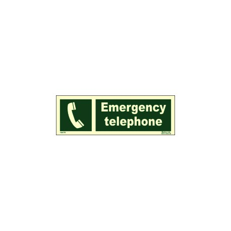 EMERGENCY TELEPHONE  (10x30cm) Phot.Vin. IMO sign 104178 / EES002