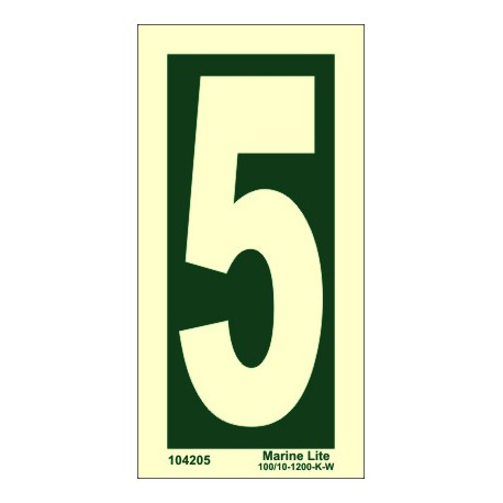 NUMBER 5  (15x7,5cm) Phot.Vin. IMO sign 104205