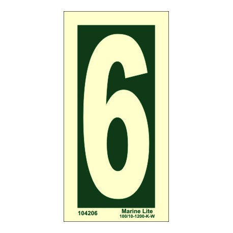 NUMBER 6  (15x7,5cm) Phot.Vin. IMO sign 104206