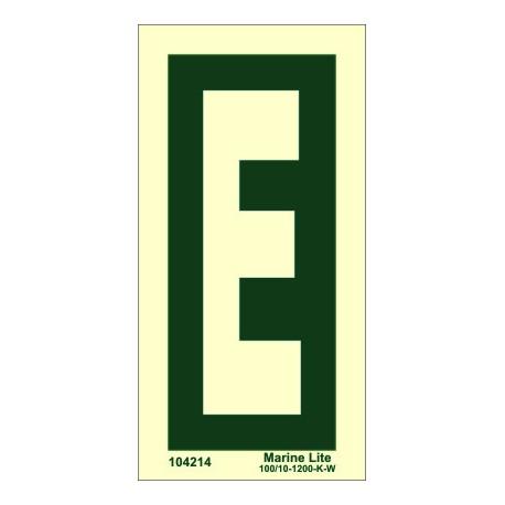 """Señal IMO LETRA """"E"""" (15x7,5cm) vinilo fotoluminiscente 104214"""