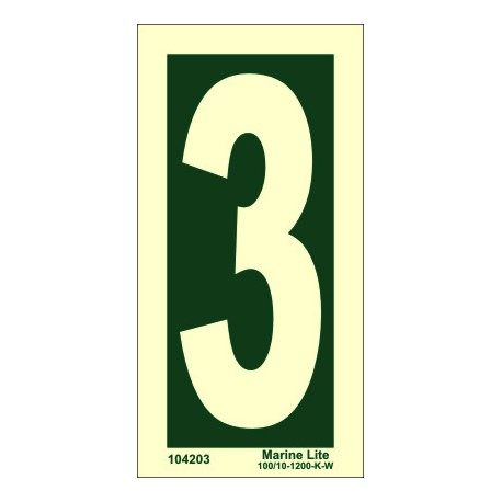 NUMBER 3  (30x15cm) Phot.Vin. IMO sign 104243