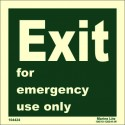 EXIT EMERGENCY USE ONLY  (15x15cm) Phot.Vin. IMO sign 104424