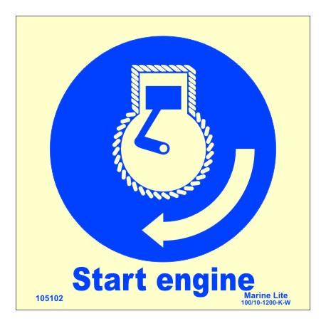 START ENGINE  (15x15cm) Phot.Vin. IMO sign 105102 / MSS024