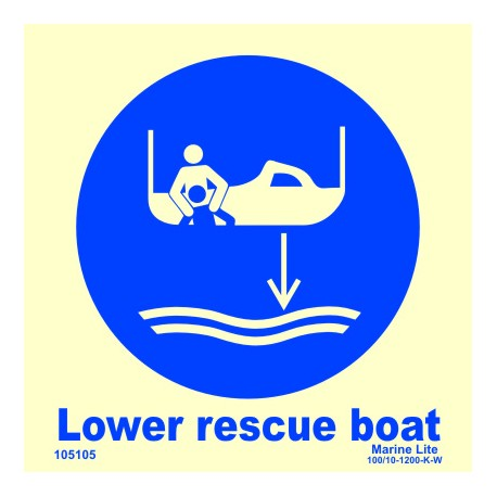 LOWER RESCUE BOAT  (15x15cm) Phot.Vin. IMO sign 105105 / MSS027
