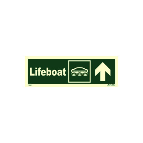 LIFEBOAT UP RIGHT  (10x30cm) Phot.Vin. IMO sign 114301
