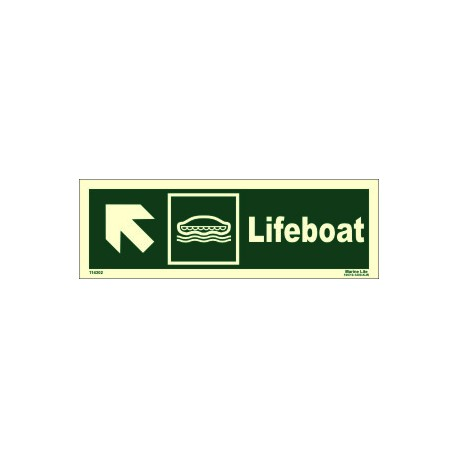 LIFEBOAT SIDE UP LEFT  (10x30cm) Phot.Vin. IMO sign 114302