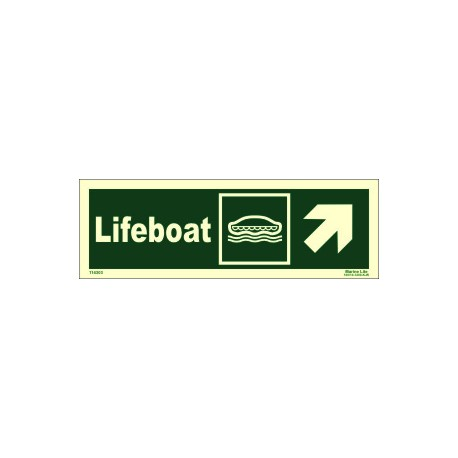 LIFEBOAT SIDE UP RIGHT  (10x30cm) Phot.Vin. IMO sign 114303
