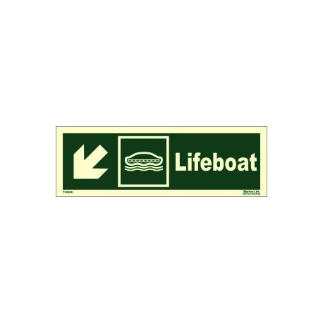 LIFEBOAT SIDE DOWN LEFT  (10x30cm) Phot.Vin. IMO sign 114306