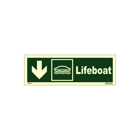 LIFEBOAT DOWN LEFT  (10x30cm) Phot.Vin. IMO sign 114308