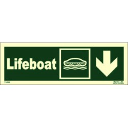 LIFEBOAT DOWN RIGHT  (10x30cm) Phot.Vin. IMO sign 114309