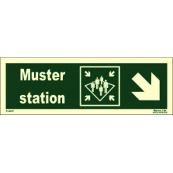 MUSTER STATION SIDE DOWN RIGHT  (10x30cm) Phot.Vin. IMO sign 114337