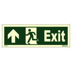 EXIT MAN RUNNING ARROW UP LEFT  (10x30cm) Phot.Vin. IMO sign 114400