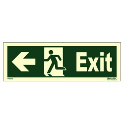 EXIT MAN RUN LEFT ARROW LEFT  (10x30cm) Phot.Vin. IMO sign 114404