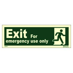 EMERGENCY EXIT /RUN MAN RIGHT (10x30cm) Phot.Vin. IMO sign 114413