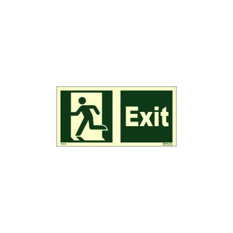 EXIT MAN RUNNING LEFT  (15x30cm) Phot.Vin. IMO sign 114414