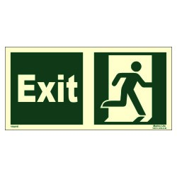 EXIT MAN RUNNING RIGHT  (15x30cm) Phot.Vin. IMO sign 114415