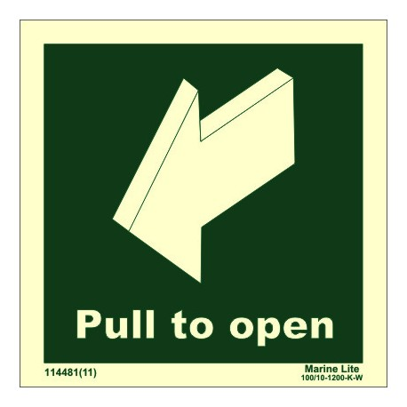 PULL TO OPEN  (10x30cm) Phot.Vin. IMO sign 114481