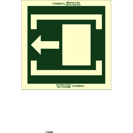 Señal IMO DESLIZAR HACIA LA IZQUIERDA PARA ABRIR (10x30cm) vinilo fotoluminiscente 114482