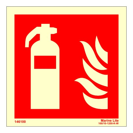 FIRE EXTINGUISHER  (15x15cm) Phot.Vin. IMO sign 146100