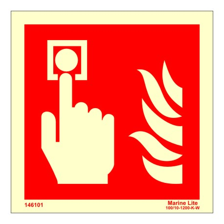 FIRE ALARM  (15x15cm) Phot.Vin. IMO sign 146101 / FES004