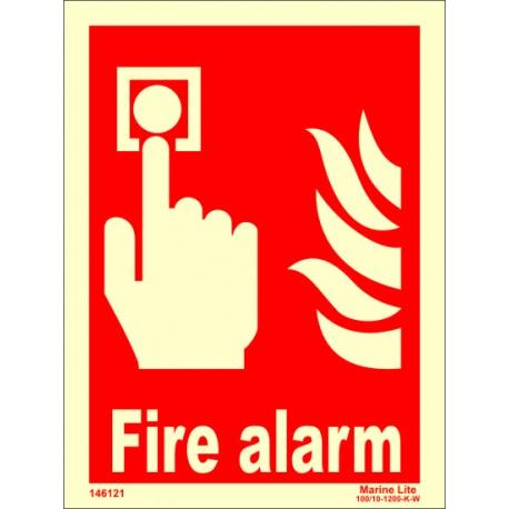 FIRE ALARM  (20x15cm) Phot.Vin. IMO sign 146121 / FES004