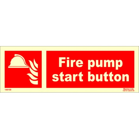 FIRE PUMP START BUTTON  (10x30cm) Phot.Vin. IMO sign 146159