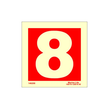 NUMBER 8  (10x10cm) Phot.Vin. IMO sign 146208