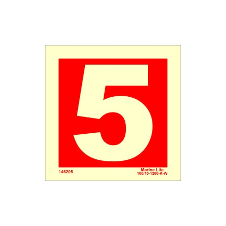 NUMBER 5  (15x15cm) Phot.Vin. IMO sign 146255
