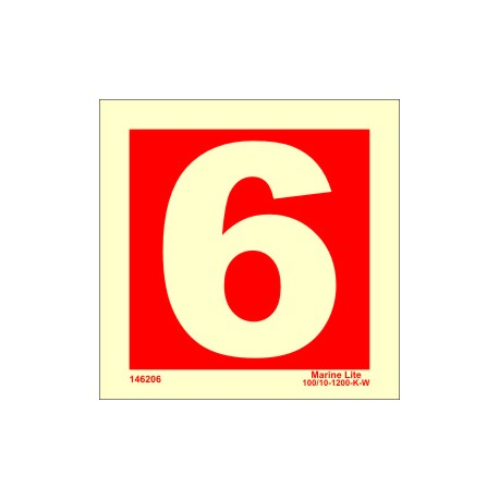 NUMBER 6  (15x15cm) Phot.Vin. IMO sign 146256