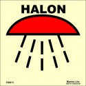 SPACE PROTECTED BY HALON  (15x15cm) Phot.Vin. IMO sign 156011