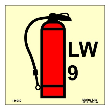 LIQUID WATER FIRE EXTINGUISHER 9KG  (15x15cm) Phot.Vin. IMO sign 156080