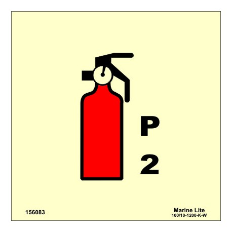 POWDER FIRE EXTINGUISHER 2KG  (15x15cm) Phot.Vin. IMO sign 156083