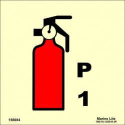 POWDER FIRE EXTINGUISHER 1KG  (15x15cm) Phot.Vin. IMO sign 156084