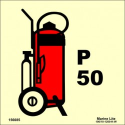 WHEELED POWDER FIRE EXTINGUISHER 50KG  (15x15cm) Phot.Vin. IMO sign 156085