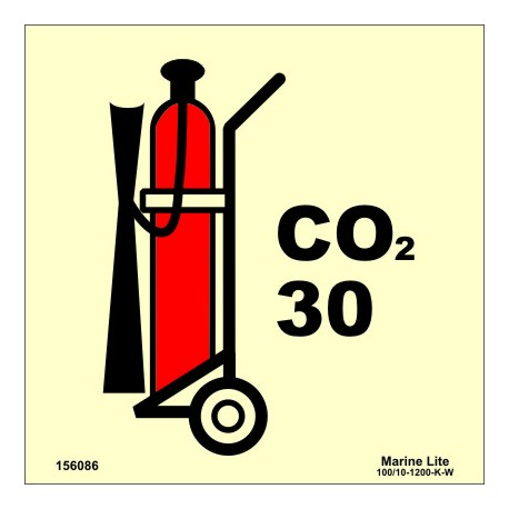 WHEELED CO2 FIRE EXTINGUISHER 30KG  (15x15cm) Phot.Vin. IMO sign 156086