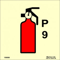 POWDER FIRE EXTINGUISHER 9KG  (15x15cm) Phot.Vin. IMO sign 156088